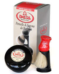 Omega Boar Shaving Brush & 150ml Shaving Cream Kit 46065