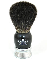 Omega Badger Shaving Brush Black/Chrome 6649
