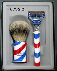 Omega Barber Pole Brush & Razor Set F6736.2