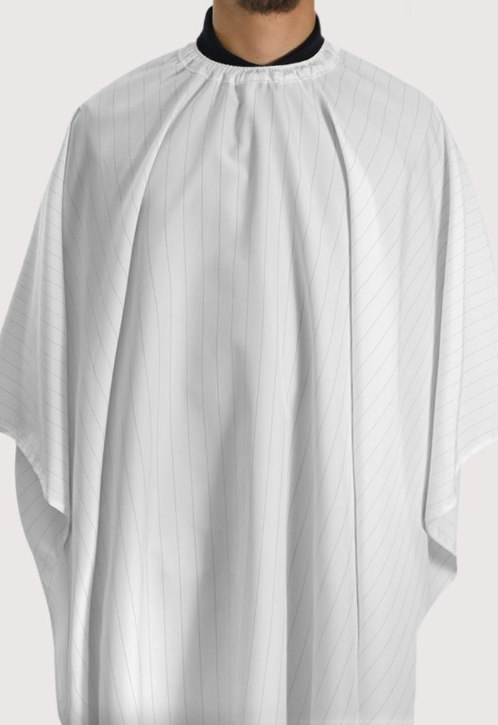 The Barber Cape White w/Blackstripes 8049