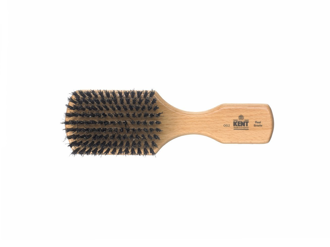 Kent Rectangular Black Bristle Beechwood Hairbrush - OG2